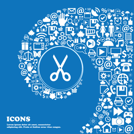 scissors icon: Scissors icon sign . Nice set of beautiful icons twisted spiral into the center of one large icon. Vector illustration