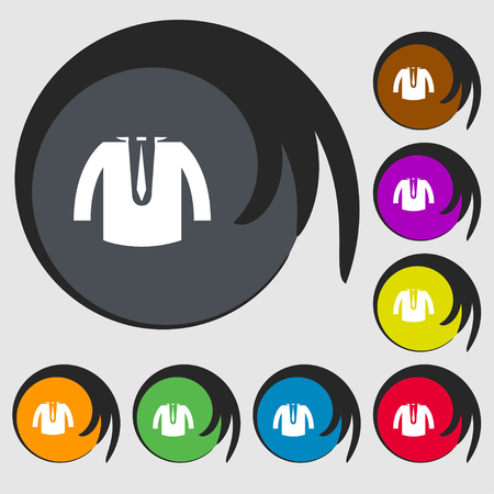 leather coat: casual jacket icon sign. Symbols on eight colored buttons. Vector illustration