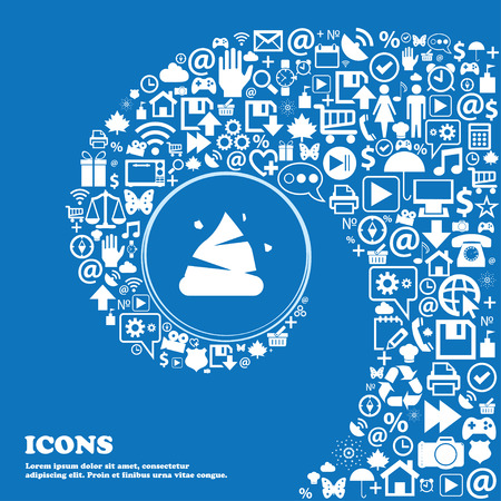 feces: Poo icon sign . Nice set of beautiful icons twisted spiral into the center of one large icon. Vector illustration