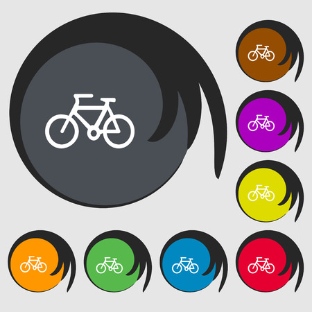 mountain road: Bicycle icon sign. Symbols on eight colored buttons. Vector illustration
