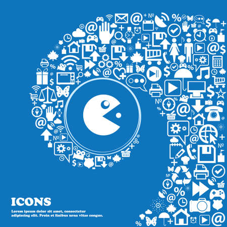 pop culture: pac man icon sign . Nice set of beautiful icons twisted spiral into the center of one large icon. Vector illustration