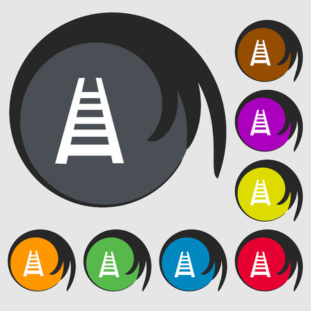steam iron: Railway track icon sign. Symbols on eight colored buttons. Vector illustration Illustration