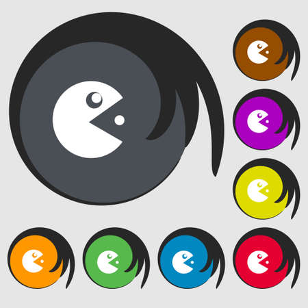 pop culture: pac man icon sign. Symbols on eight colored buttons. Vector illustration