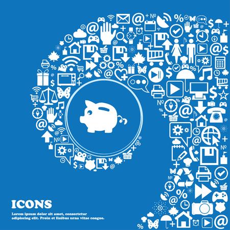 signo de pesos: Piggy signo icono de banco. Buen conjunto de iconos hermosos retorcido en espiral en el centro de una gran icono. ilustración vectorial