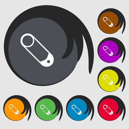 pushpin: Pushpin icon sign. Symbols on eight colored buttons. Vector illustration