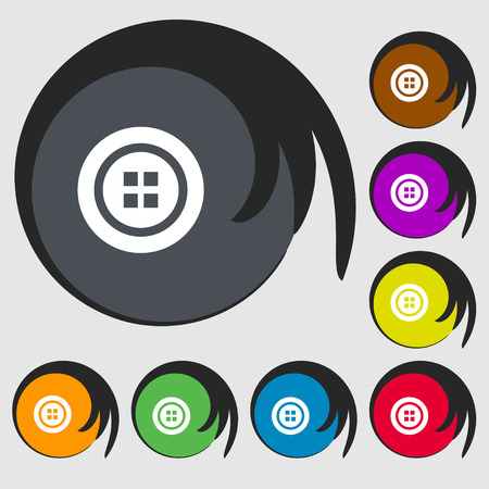 clincher: Sewing button sign. Symbols on eight colored buttons. Vector illustration