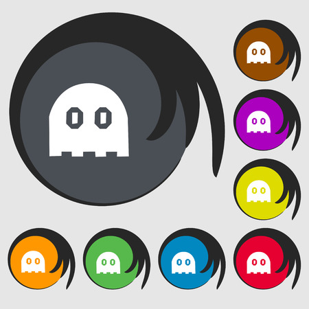 haunt: Ghost icon sign. Symbols on eight colored buttons. Vector illustration Illustration