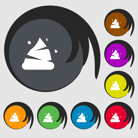 dung: Poo icon sign. Symbols on eight colored buttons. Vector illustration