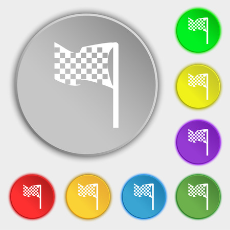 racing checkered flag crossed: racing flag icon sign. Symbol on eight flat buttons. Vector illustration Illustration