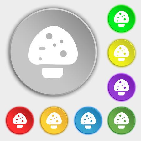 edible mushroom: mushroom icon sign. Symbol on eight flat buttons. Vector illustration