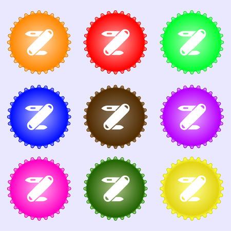 model kit: Pocket knife icon sign. Big set of colorful, diverse, high-quality buttons. Vector illustration