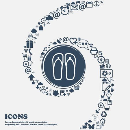 Flip-flops. Beach shoes. Sand sandals icon in the center. Around the many beautiful symbols twisted in a spiral. You can use each separately for your design. Vector illustration 向量圖像