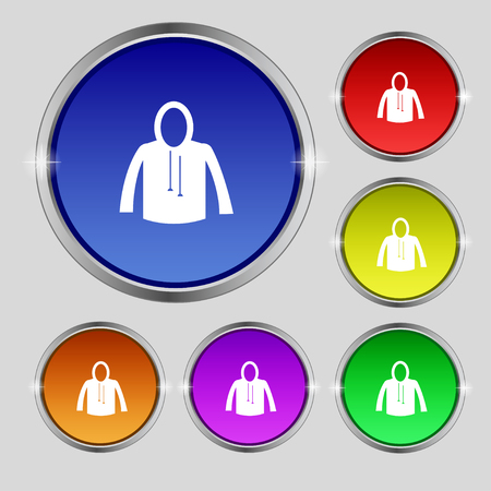 woman in fur coat: casual jacket icon sign. Round symbol on bright colourful buttons. Vector illustration