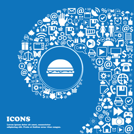 ready logos: Hamburger icon sign . Nice set of beautiful icons twisted spiral into the center of one large icon. Vector illustration Illustration