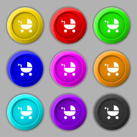 home birth: Baby Stroller icon sign. symbol on nine round colourful buttons. Vector illustration