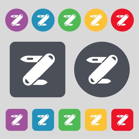 pocket knife: Pocket knife icon sign. A set of 12 colored buttons. Flat design. Vector illustration Illustration