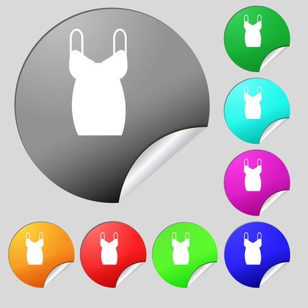 dress icon sign. Set of eight multi colored round buttons, stickers. Vector illustration