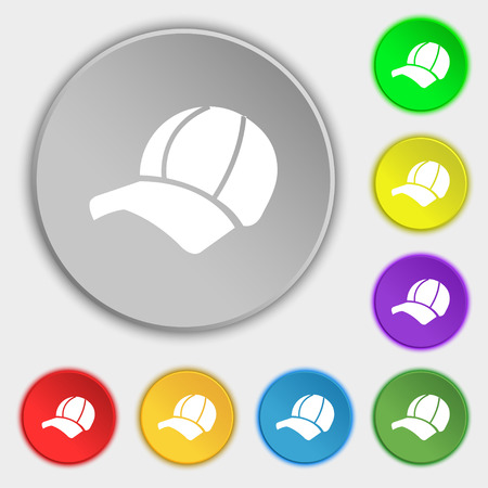 peak hat: Ball cap icon sign. Symbol on eight flat buttons. Vector illustration