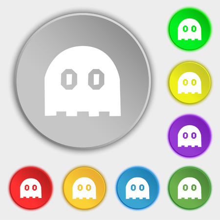 phantom: Ghost icon sign. Symbol on eight flat buttons. Vector illustration