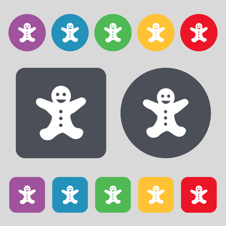 brown rice: Gingerbread man icon sign. A set of 12 colored buttons. Flat design. Vector illustration Illustration