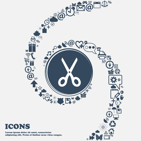 scissors cutting paper: Scissors icon in the center. Around the many beautiful symbols twisted in a spiral. You can use each separately for your design. Vector illustration