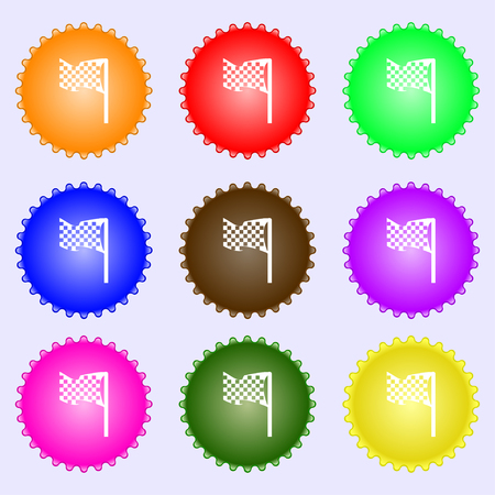 racing flag icon sign. Big set of colorful, diverse, high-quality buttons. Vector illustration Illustration