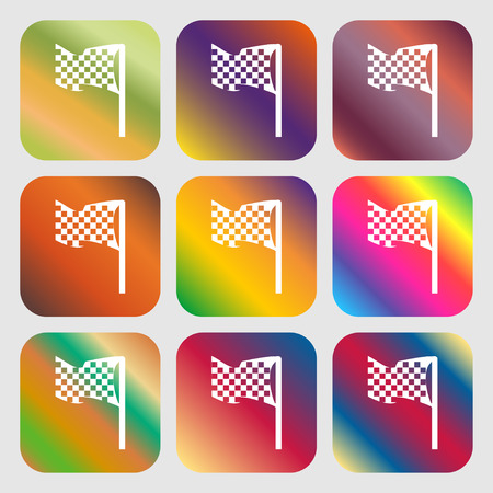 racing checkered flag crossed: racing flag icon sign. Nine buttons with bright gradients for beautiful design. Vector illustration