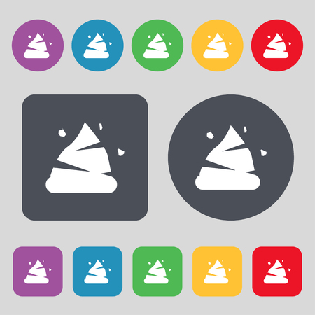 filth: Poo icon sign. A set of 12 colored buttons. Flat design. Vector illustration Illustration