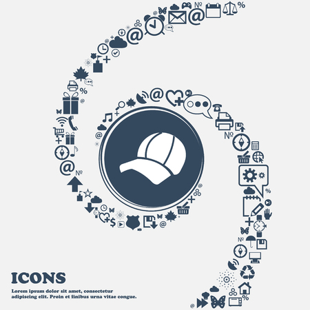 peak hat: Ball cap icon in the center. Around the many beautiful symbols twisted in a spiral. You can use each separately for your design. Vector illustration Illustration