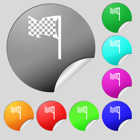 racing flag icon sign. Set of eight multi colored round buttons, stickers. Vector illustration