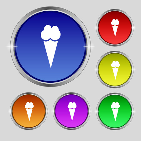 Ice Cream icon sign. Round symbol on bright colourful buttons. Vector illustration