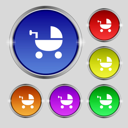 Baby Stroller icon sign. Round symbol on bright colourful buttons. Vector illustration Illustration