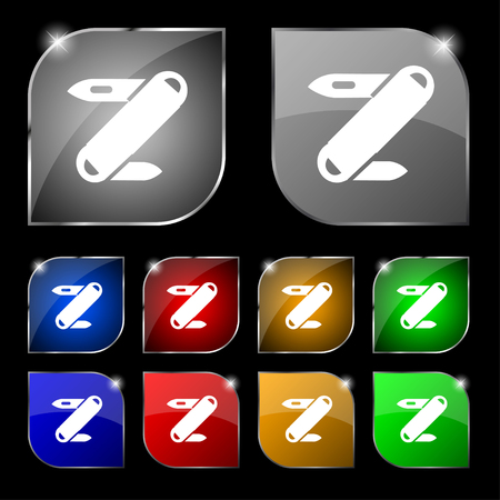 pocket knife: Pocket knife icon sign. Set of ten colorful buttons with glare. Vector illustration