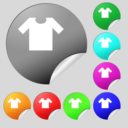 T-shirt icon sign. Set of eight multi colored round buttons, stickers. Vector illustration