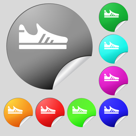 Running shoe icon sign. Set of eight multi colored round buttons, stickers. Vector illustration Illustration