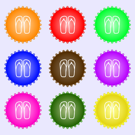 sandals: Flip-flops. Beach shoes. Sand sandals icon sign. Big set of colorful, diverse, high-quality buttons. Vector illustration