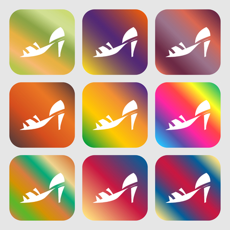 foot gear: Shoe icon sign. Nine buttons with bright gradients for beautiful design. Vector illustration Illustration