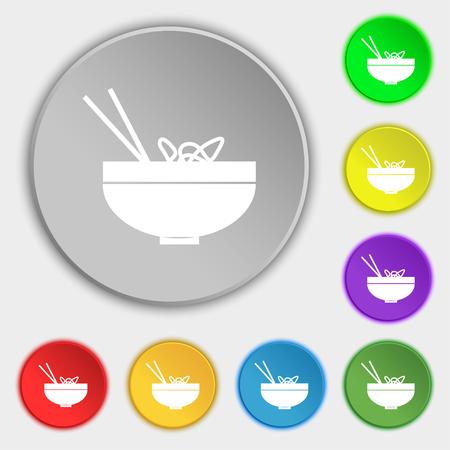 Spaghetti icon sign. Symbol on eight flat buttons. Vector illustration