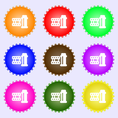 film Icon sign. Big set of colorful, diverse, high-quality buttons. Vector illustration Illustration