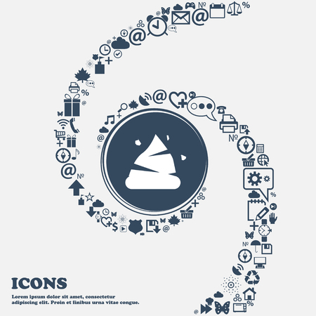 livelihoods: Poo icon in the center. Around the many beautiful symbols twisted in a spiral. You can use each separately for your design. Vector illustration