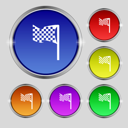 two crossed checkered flags: racing flag icon sign. Round symbol on bright colourful buttons. Vector illustration