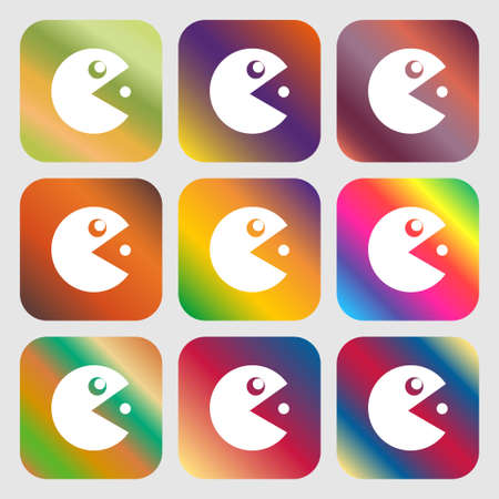pop culture: pac man icon sign. Nine buttons with bright gradients for beautiful design. Vector illustration