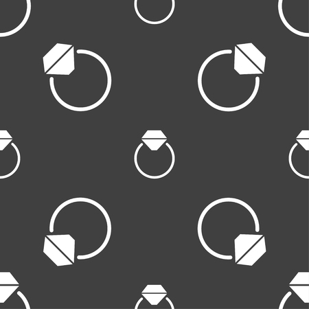 fiance: Diamond engagement ring icon sign. Seamless pattern on a gray background. Vector illustration
