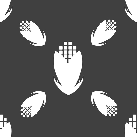 sweetcorn: Corn icon sign. Seamless pattern on a gray background. Vector illustration