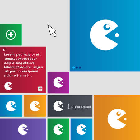 pop culture: pac man icon sign. buttons. Modern interface website buttons with cursor pointer. Vector illustration