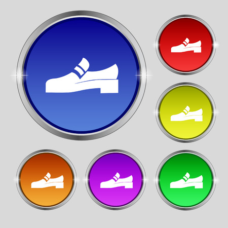 Shoe icon sign. Round symbol on bright colourful buttons. Vector illustration