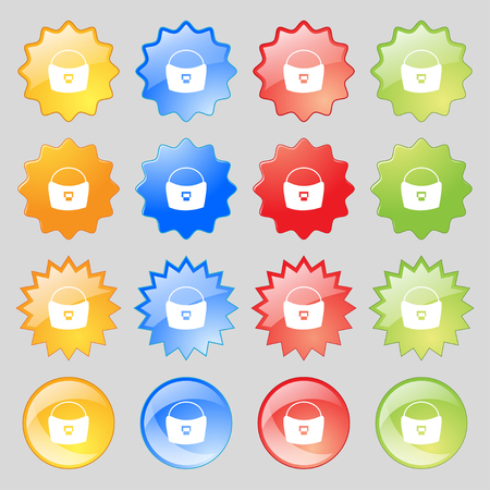 suede: woman hand bag icon sign. Big set of 16 colorful modern buttons for your design. Vector illustration
