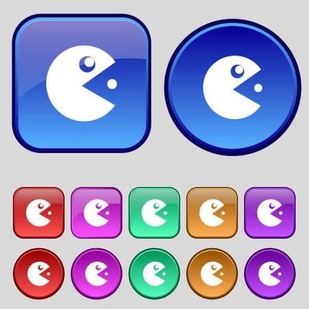 pop culture: pac man icon sign. A set of twelve vintage buttons for your design. Vector illustration