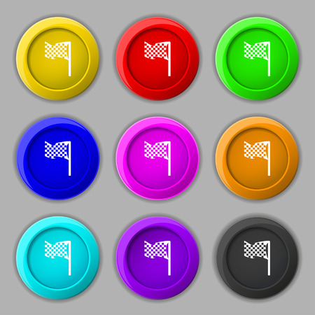 racing flag icon sign. symbol on nine round colourful buttons. Vector illustration Illustration
