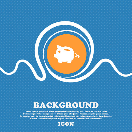 Piggy bank icon sign. Blue and white abstract background flecked with space for text and your design. Vector illustration